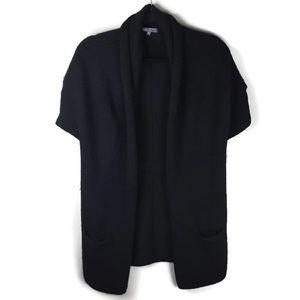 Vince Open Front Short Sleeve Llama & Wool Sweater